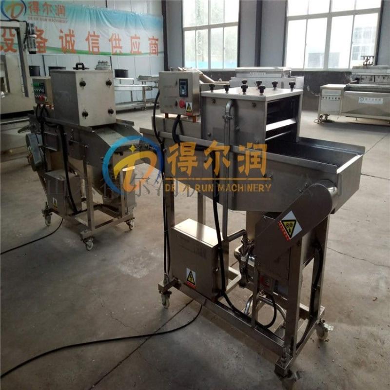 D-3卡兹脆鸡腿上浆裹糠机 大鸡排裹浆机油炸生产线
