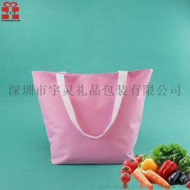 600d牛津布色丁布折叠购物袋手提袋环保收纳袋广告袋多色可