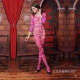 廠家直供速賣通爆款情趣絲襪批發性感豹紋帶袖情趣連身衣吊帶絲襪