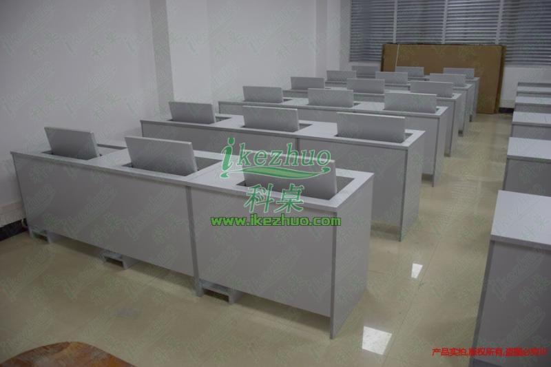 广东双人翻转电脑桌 机房翻转电脑桌 多媒体翻转电脑桌   翻转电脑桌 电教室翻转电脑桌