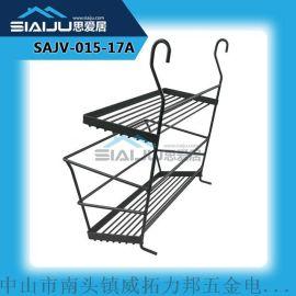 思愛居 雙層鐵線壁掛式廚房置物架 帶護欄廚具收納掛架噴黑砂