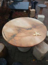 晚霞紅石桌石凳 戶外石桌石凳 花紋多彩猶如天作之畫