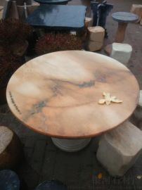 晚霞红石桌石凳 户外石桌石凳 花纹多彩犹如天作之画