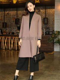 2017年新款歐美潮牌雙面羊絨大衣 折扣女裝批發走份