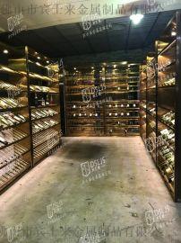北京通透不锈钢酒架定制 玻璃展示架 灯带红酒架