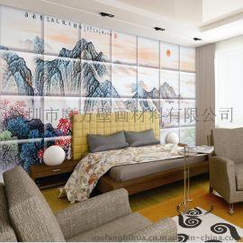 酒店大堂艺术软包壁画 皮革硬包墙画喷绘 宾馆床背景墙