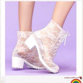 筱丹丹祥 性感蕾丝高跟雨靴 透明马丁雨鞋水鞋女