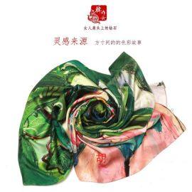 围巾定制生产加工100%桑蚕丝印花染色