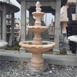 石雕喷泉 石雕风水球 石水钵 晚霞红石喷泉 黄锈石喷泉低价销售