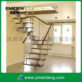 意美登楼梯室内阁楼钢木楼梯,家用炮筒楼梯