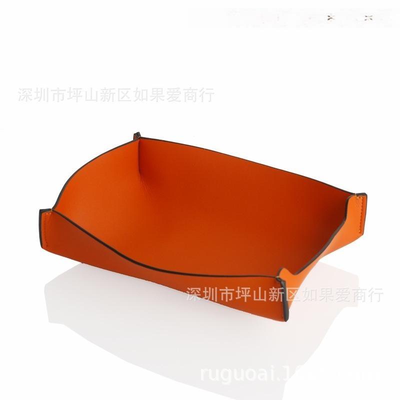 超纤皮合金橙色橘色长方形首饰盒皮革家居饰品样板房间软装摆台