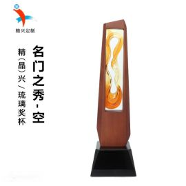特色木框水晶琉璃奖杯 企业颁奖奖杯纪念品摆件
