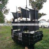 黑色西方海盗船实木打造厂家直销景观木船风景船