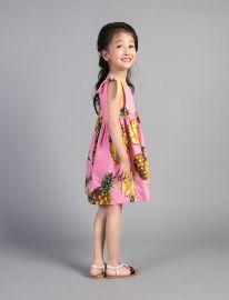 VTK2017夏季新款女童菠萝印花连衣裙 蝴蝶结菠萝印花女童连衣裙