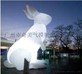 新款中秋月球气模发光玉兔模型充气月兔中秋节卡通兔子