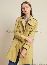 杭州服装进货怎么发货敦奴菲姿长款韩版风衣外套