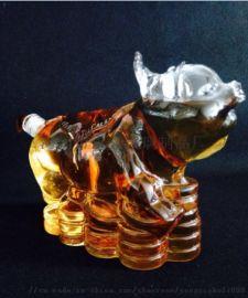 供应玻璃工艺酒瓶 造型猪形白酒 红酒瓶