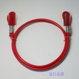 包胶红色钢丝绳,工业用包彩色钢绳
