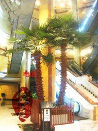 广州厂家批发室内假绿植仿真棕榈树椰子树盆景大型盆栽玻璃钢仿真老人葵树