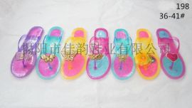 揭阳厂家供应女款层次色水晶拖鞋