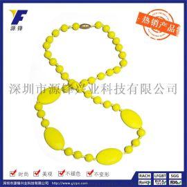 定做批发韩版时尚硅胶珠子项链婴儿咀嚼项链硅胶饰品厂家