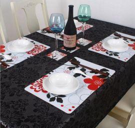 厂家直销防水印花环保PP塑料餐垫 4张餐垫加4张杯垫