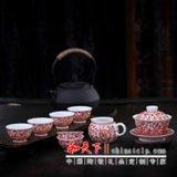 礼品陶瓷茶具 双层陶瓷茶具 釉下陶瓷茶具