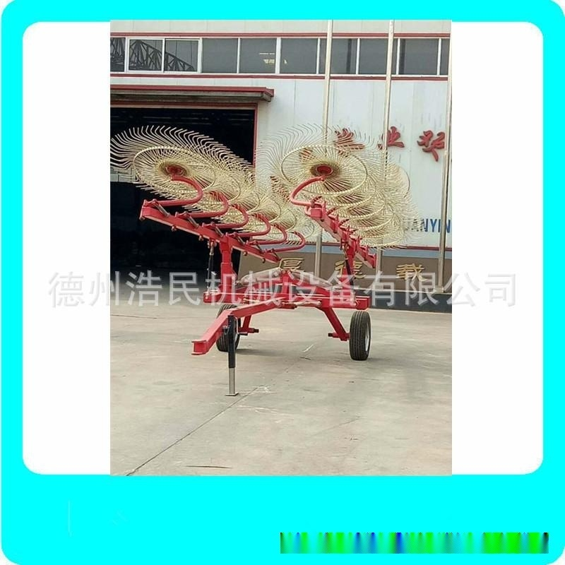 牧草摟草機 多盤牽引式摟草機牧場專用牧草摟草機械