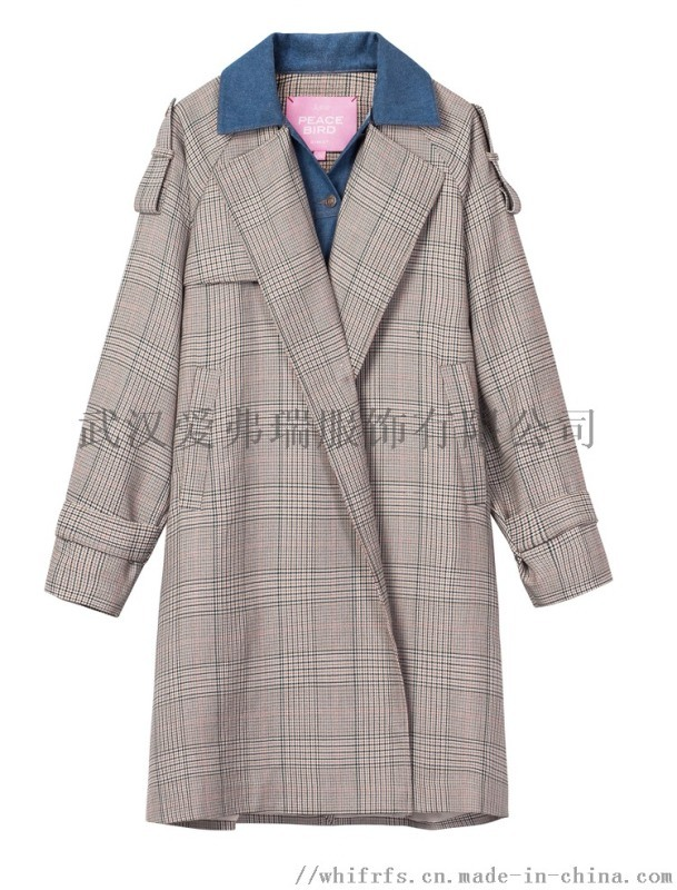 广州高端服装进货渠道古贝格子风衣外套【一手货源】