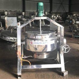 立式双层夹层锅导热油型号  蒸煮搅拌夹层锅配件
