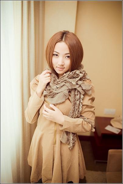 流苏针织围巾