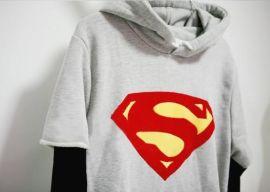 超人拼接长袖连帽针织卫衣