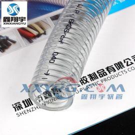 鑫翔宇无毒环保耐酸碱耐高压PVC透明钢丝增强塑料软管排水管批发