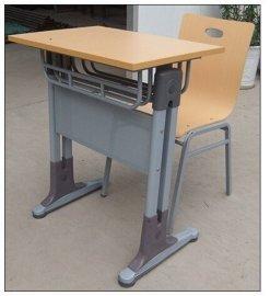 单人双柱带靠背课桌椅 新款校用多层板课桌椅
