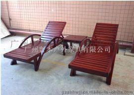 碳化木防腐木实木沙滩椅休闲躺椅午休睡椅家居靠背椅