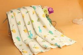印碎花六层水洗全纯棉起皱纱布浴巾半漂白40支婴儿童褶皱浴巾批发