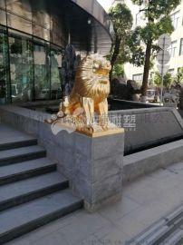 镶金狮子不锈钢雕塑/不锈钢动物雕塑定制厂家