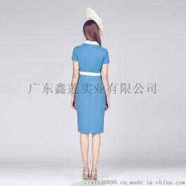 蓝色赫本风连衣裙厂家女装加工厂女装贴牌
