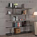 海南现代创意金色不锈钢书架,金色不锈钢书柜定制