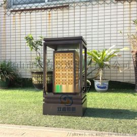 新中式花园灯电镀拉丝草坪灯人造云石草地灯