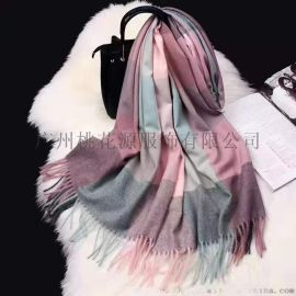 网红直播韩国东大门巴宝莉风格羊绒围巾广州厂家