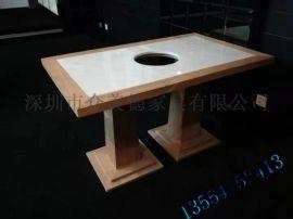 众美德生产实木家具 火锅店餐桌 松木火锅桌定制