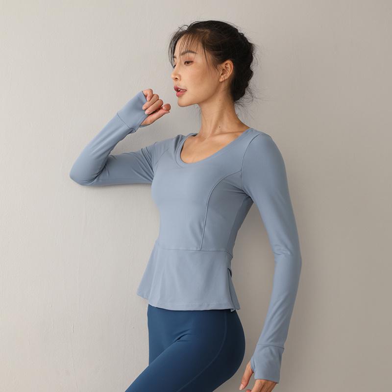 秋冬新款速干长袖圆领运动瑜伽服
