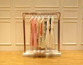 简约服装店中岛架-双排服装展示架-落地式衣帽架