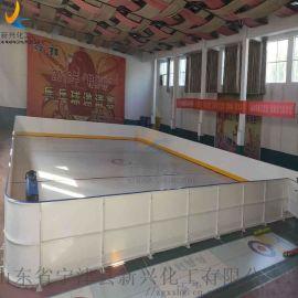 塑料冰球场围栏板墙 防护轮滑球场围栏界墙使用状态