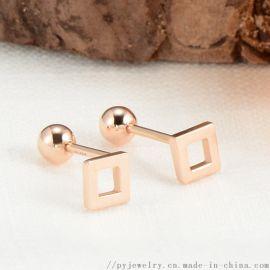 品艺珠宝18K金小方形素金耳钉AU750
