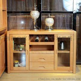置式拉抽架边柜 百色中实木家具 柳州碗壶酒置柜