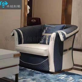 轻奢不锈钢沙发组合头层牛皮单人沙发