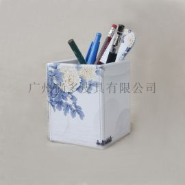 创意可爱笔筒 皮革中式化妆刷桌面收纳盒