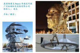 重型V型圆弧导轨应用于《变形合金头像》人头雕塑喷泉